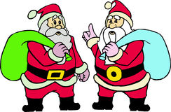 Two santa claus. Santa claus in uniform with gifts Stock Image