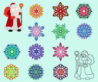 Two Santa Claus in different styles, color and contour and a set. Of isolated colored snowflakes. Vector illustration Royalty Free Stock Images
