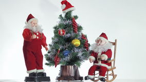 Two of Santa Claus enjoy coming Christmas stock video