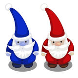 Two Santa Claus in a red and blue suit isolated Stock Photo