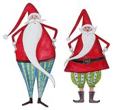 Two Santa Clauses. Artistic work ink and watercolors on paper Royalty Free Stock Image