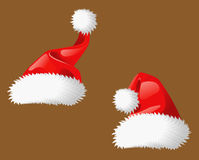 Two Santa Clous christmas hats Stock Image
