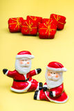 Two Santa and gifts Royalty Free Stock Images
