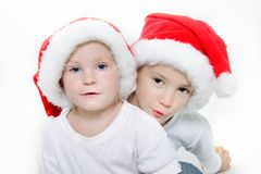 Two santa helpers over white Stock Photography