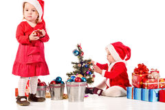 Two santa helpers Stock Image