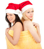 Two Santa women covering in towel Stock Photography