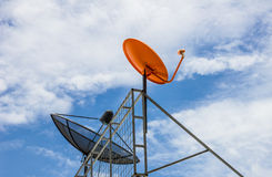 Two satellite dishes Stock Image
