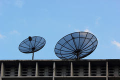 Two satellite dishes. Stock Photo