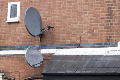 Two satellite dishes stock images