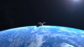 Two satellites is orbiting the Earth. Flight modern satellites over earth stock footage