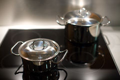 Two saucepans Royalty Free Stock Images