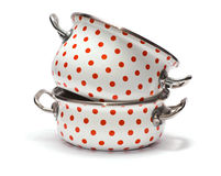 Two Saucepans with Red Dots isolated on white Stock Photography