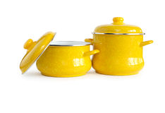 Two Saucepans On White Stock Image