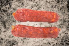 Two sausage is  on a white background Royalty Free Stock Photography