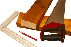 Two sawn boards and tools Stock Photography
