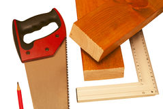 Two sawn boards and tools Stock Images
