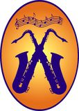 Two saxophones crossed Royalty Free Stock Photos