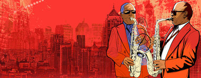 Two saxophonist over a background panoramic view o Royalty Free Stock Photos