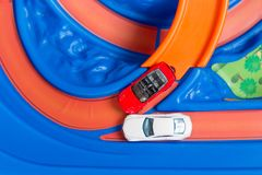 Scale model toy cars accident on the road. Traffic jam. Stupidity. Top view. Stock Photos