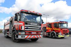 Two Scania Fire Trucks on Display Stock Photography