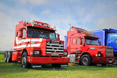 Two Scania 143H Conventional Trucks on the Show Stock Image