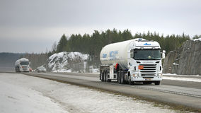 Two Scania Semi Tank Trucks in ADR Haul Royalty Free Stock Images