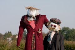 Two scarecrows Stock Photo