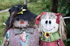 Two Scarecrows. Portrait of a couple of ragged scarecrows Royalty Free Stock Images
