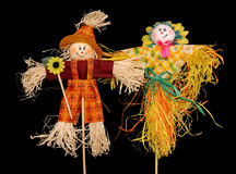Two scarecrows Royalty Free Stock Photography