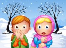 Two scared little girls stock illustration