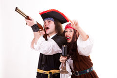 Two scared pirates on white background Stock Image