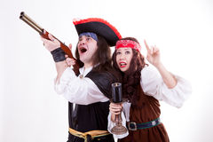 Two scared pirates on white background Stock Images