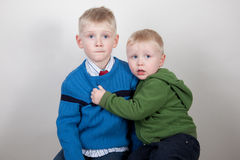 Two scared young boys Stock Photography