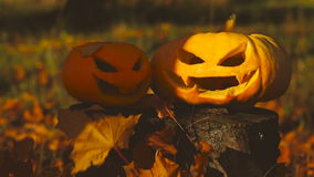 Two scary pumpkin lantern on a stump stock video footage