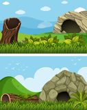 Two scenes with cave in the field. Illustration Stock Image