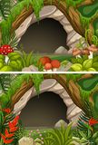 Two scenes of cave and flowers. Illustration Stock Images