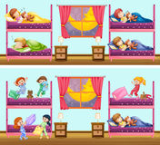 Two scenes of children in bedrooms. Illustration Royalty Free Stock Photography