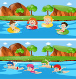 Two scenes with children in river Royalty Free Stock Photography