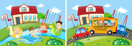 Two scenes with children swimming and riding on schoolbus Royalty Free Stock Photography