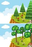 Two scenes with cliff at day time. Illustration Stock Photography