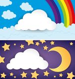 Two scenes of day and night. Illustration Stock Photo