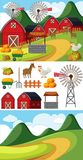 Two scenes with different farm elements. Illustration Royalty Free Stock Photography