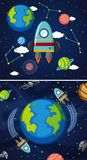 Two scenes of earth and spaceships in space. Illustration Royalty Free Stock Photos