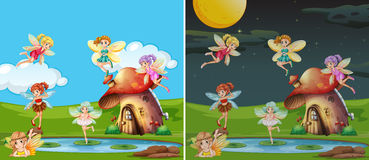 Two scenes with fairies at day and night. Illustration Royalty Free Stock Photography