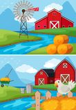 Two scenes of farm along the river Stock Images