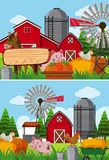 Two scenes of farmland with many animals. Illustration Royalty Free Stock Images