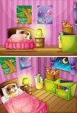 Two scenes of girl in bedroom Royalty Free Stock Image