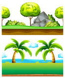 Two scenes of green garden. Illustration Stock Photos
