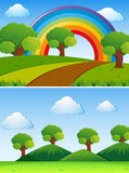 Two scenes with green trees in the field. Illustration Royalty Free Stock Photography