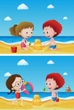 Two scenes with kids playing sand. Illustration Royalty Free Stock Photos